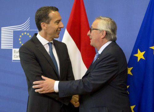 Erstes Treffen in Brüssel: Bundeskanzler Christian Kern (SPÖ) und EU-Kommissionspräsident Jean-Claude Juncker.