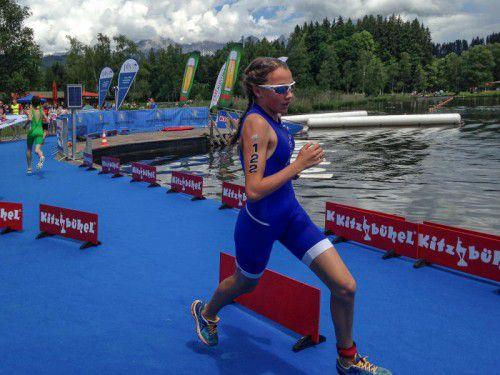 Larissa Burtscher auf dem Weg zur Bronzemedaille.
