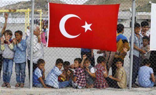 Syrische Kinder in einem Flüchtlingscamp in Nizip.