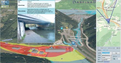 Beispiel einer interaktiven Visualisierung von Straßen- und Vermessungsdaten samt GIS-Layern und Links.