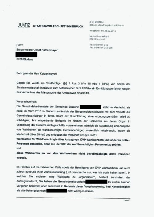 Das Schreiben der Staatsanwaltschaft Innsbruck an Mandi Katzenmayer vom 26. Februar 2016.