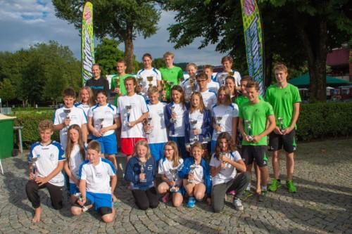 Die Top Drei der Pokalwertung bei der Freiwassermeisterschaft in Bregenz.