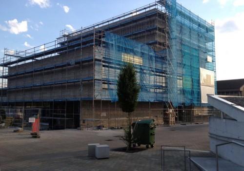 Nach Abschluss des Innenausbaus der Musikschule in Wolfurt konzentrieren sich ab August die Arbeiten auf den Außenbereich.
