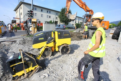 In Lustenau haben die Bauarbeiten begonnen.