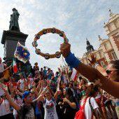 Katholiken feiern ihre Jugendparty in Krakau