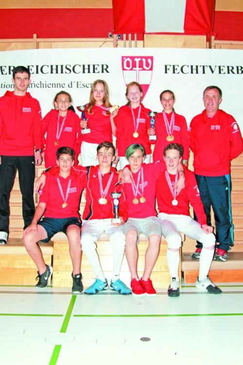 Vorarlbergs Medaillengewinner bei den nationalen Fecht-Titelkämpfen der Jugend-B- und -C-Klasse in Vöcklabruck.