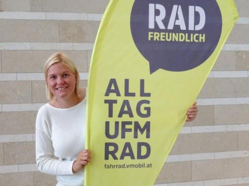 Die 33-jährige Feldkircherin Anna Schwerzler ist seit 1. Juli Vorarlbergs neue Radfahrkoordinatorin. Foto: VLK/Wirth