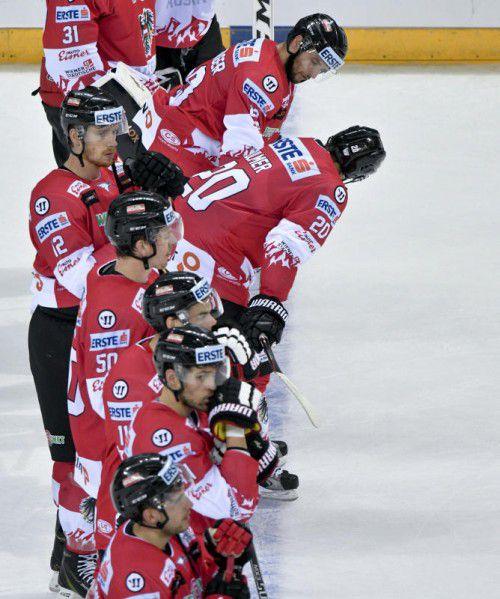Das österreichische Eishockey-Team ist nach dem 0:6 gegen Deutschland nur Olympia-Zuschauer. Foto: apa