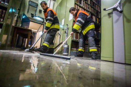 Wassereintritt in der Landesbibliothek: Am 19. September schrillten die Alarmglocken. Foto: VN/Steurer