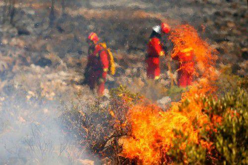 Die Feuerwehrmänner in Jávea haben gegen die wieder auflodernden Fammen gekämpft. Foto: AFP