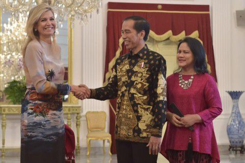 Die niederländische Königin Maxima und der indonesische Präsident Joko Widodo verstanden sich prächtig. Foto: AFP