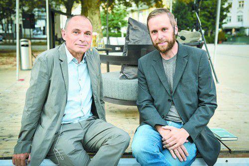 Die Schriftsteller Norbert Gstrein (l.) und Heinz Heller. Fotos: Privat