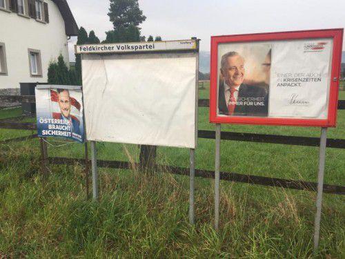 In Bangs scheint die Zeit stehen geblieben zu sein: SP wirbt noch mit Rudolf Hundstorfer, und die Schwarzen (VP) mit schlichtem Weiß.  VN