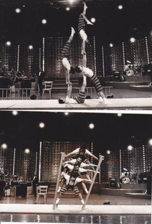 """Akrobatik und Komik – die """"4 Tomy's"""" vereinten einst beides. Dank Günther Schmid (kl. B.) gibt es für einmal ein kurzes Revival. Fotos: Schmid"""
