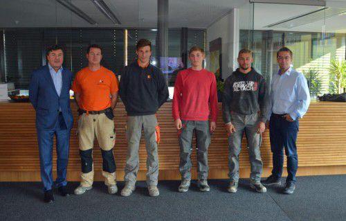 Andreas Salcher (l.) bei seinem Besuch beim Bauunternehmen Wilhelm+Mayer in Götzis. Foto: WM