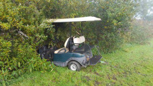 Bei dem Golfcaddy brach die Vorderachse. Foto: Polizei