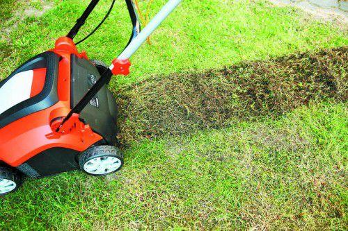 Belüften Sie den Boden in diesen Tagen noch mit einem Vertikutierer und befreien Sie so den Rasen von Moos und Rasenfilz.