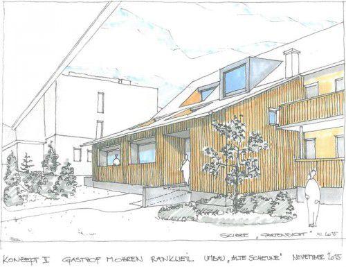 Der Neubau soll den Charakter eines bäuerlichen Rheintalhauses behalten und Platz für moderne Gästezimmer bieten. Geller