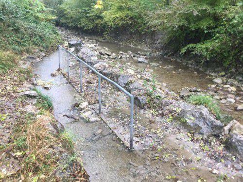 Derzeit ist die Wassertrete im Ratzbach nicht benutzbar. VN/GMS