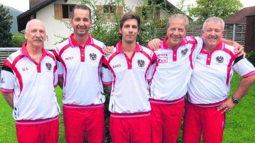 Die drittplatzieren Günther Ill, Enrico Matic, Simon Klaus, Niki Natale und Techniker Gerhard Reinalter (v. l.). Foto: Verband