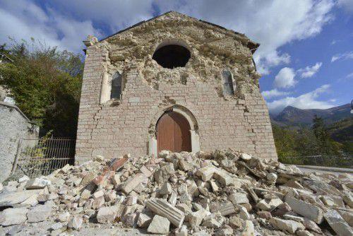 Die KircheSanta Maria Assunta in Ussita aus dem 13. Jahrhundert wurde schwer beschädigt. Foto: AP