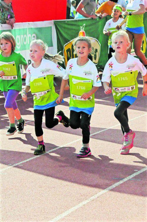 Die Lauffreude steht beim Kindermarathon im Vordergrund. akp