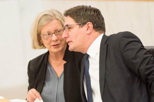 Die neue SPÖ-Chefin Sprickler-Falschlunger mit dem neuen Ausschuss-Vorsitzenden Einwallner. VN/Stiplovsek