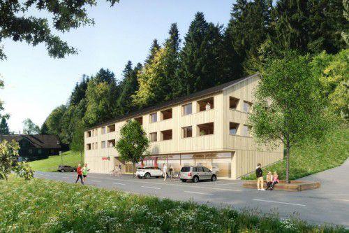 Die Wohnanlage samt Sparmarkt in Doren soll ab Anfang November entstehen. Foto: Gemeinde Doren