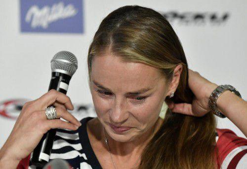 Es war ein emotionaler Abschied, als die slowenische Skirennläuferin Tina Maze in Sölden ihren Rücktritt verkündete. Foto: apa