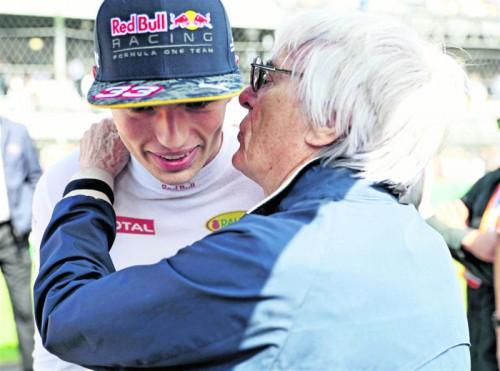 Fahrer-Flüsterer Bernie Ecclestone und Max Verstappen.  Foto: apa