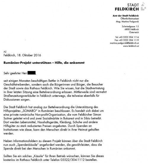 """Feldkirch bittet Unternehmen, """"Spendenkässile"""" im Büro aufzustellen."""