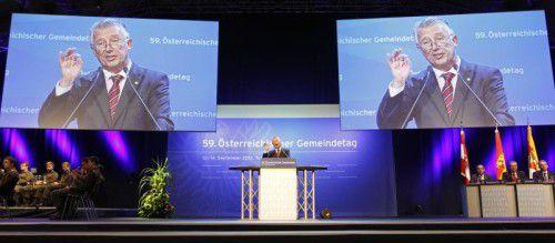Gemeindebund-Präsident Mödlhammer beim Gemeindetag 2012 in Tulln. Auch heuer üben die Gemeinden wieder einen Schulterschluss. Foto:APA