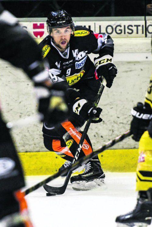 Jamie Arniel sorgte für einen Blitzstart in Laibach: Der Dornbirn-Stürmer traf bereits nach 29 Sekunden. Foto: gepa