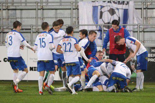 Jubelnde Grödiger: Der Regionalligist eliminierte den Erste-Liga-Klub WSG Wattens mit 1:0. Foto: gepa