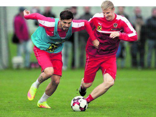 Martin Hinteregger (im Bild rechts im Training gegen Aleksandar Dragovic) strahlt seit seinem Wechsel zu Augsburg noch mehr Selbstsicherheit aus. Foto: gepa