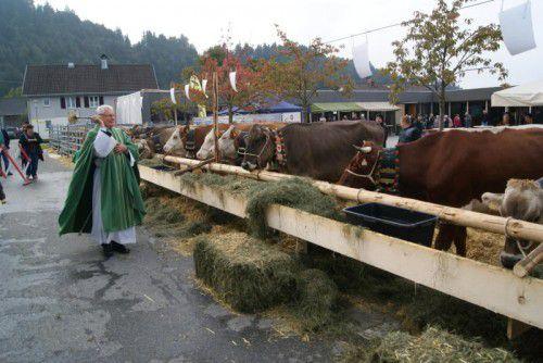 Pfarrer Peter Haas segnete die ausgestellten Tiere.  Foto: eP