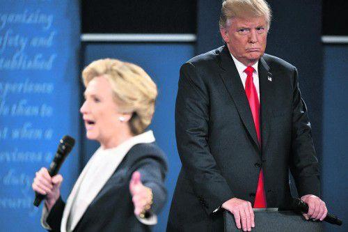 Schlammschlacht in den USA: Mr. Trump und Mrs. Clinton buhlen um das höchste Amt. Foto: AFP