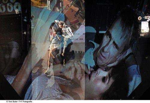 """Spiel, Videoszenen und Musik sind bei dieser """"Homo faber""""-Produktion gut ineinander verzahnt. Foto: Theaer/Suter"""
