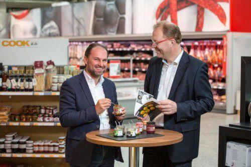 Thomas Panholzer und Manfred Hayböck wollen Vorarlbergs Gastronomen als Kunden gewinnen.  Foto:Hügel