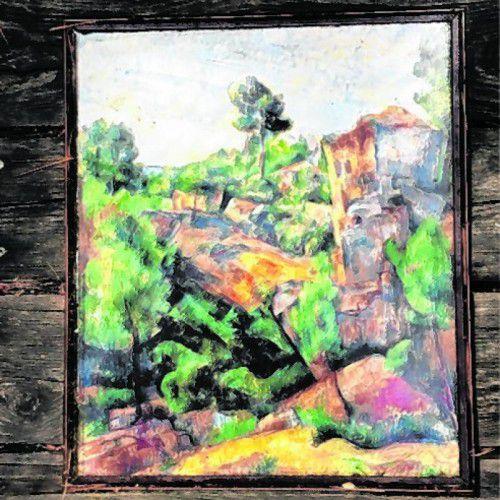 Vor der jeweiligen Kulisse findet man die Bilder von Cézanne.