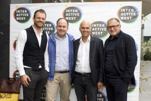 Vortragender Daniel Zech (l.), Gerold Riedmann , Werber Rudi Kobza und Medien-Professor Ulrich Herburger.  Fotos: Franc