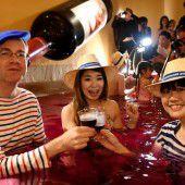 Weinbad in japanischem Spa