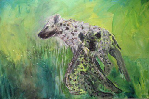 Arbeit aus der Hyänenbilder-Werkreihe von Herbert Brandl im Kunstforum Montafon. Foto: AG