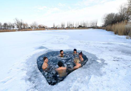 Eisbaden erfreut sich im Lockdown-Winter großer Beliebtheit. apa