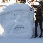 Donald Trump aus Schnee
