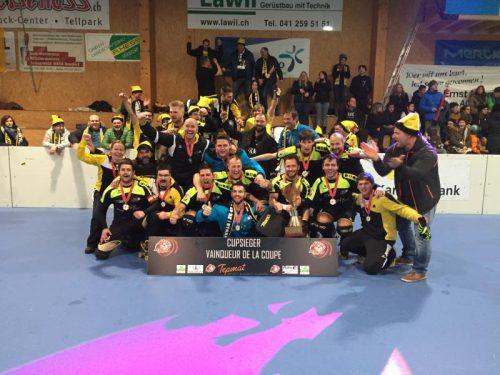 Erstmals in der Geschichte holte sich mit dem RHC Dornbirn ein ausländisches Team den Schweizer Rollhockeycup. Foto: Verein
