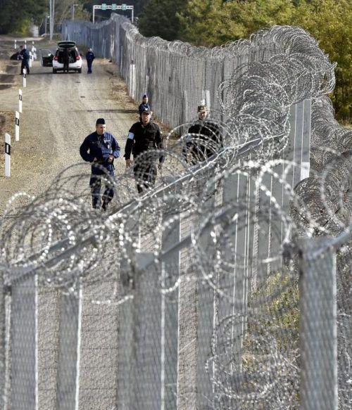 Polizisten patroullieren an der ungarisch-serbischen Grenze. AP