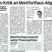 Zur finanziellen Lage des Montforthauses