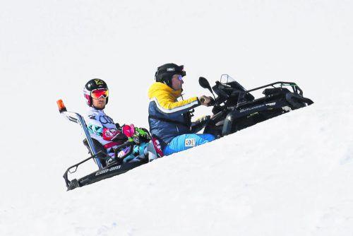 Alles dreht sich im österreichischen Herrenteam um Marcel Hirscher. Auf dem Weg nach oben, im Bild mit einem Quad, will der 27-Jährige heute im Riesentorlauf nach einer Medaille greifen. Fotos: gepa/2