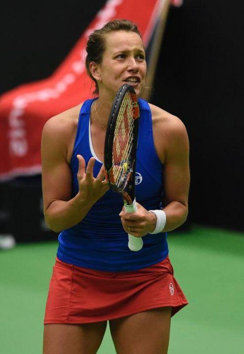 Barbora Strycova holte den dritten Punkt für Tschechien.  Foto: afp